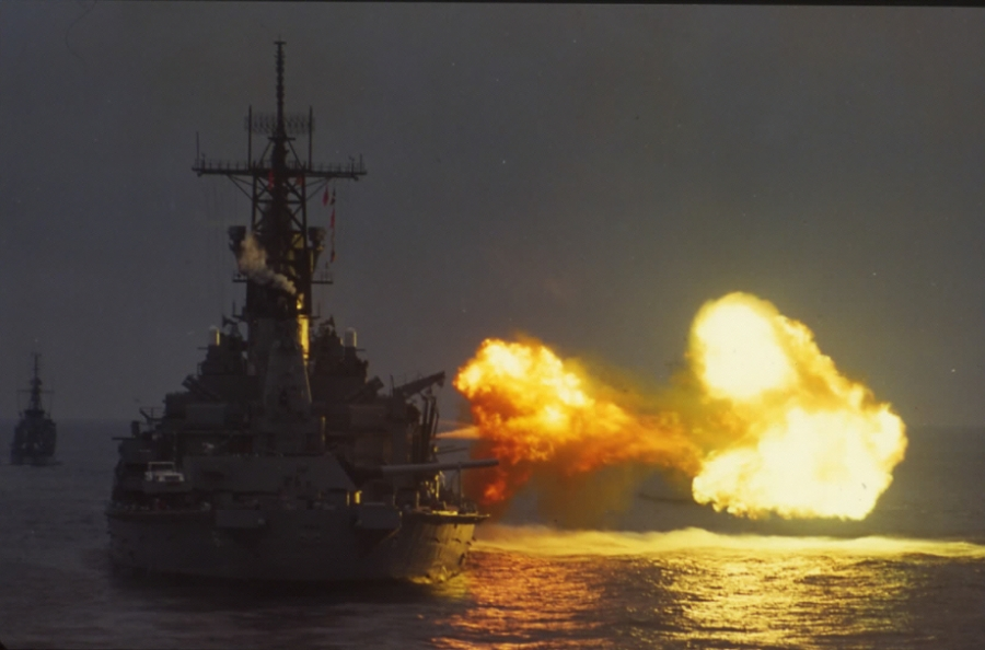 USS Missouri-firing gun from astern