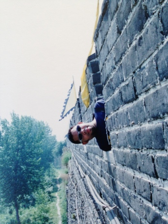 Julian Vasquez Heilig at Great Wall of China (Shanhaiguan) in 1996