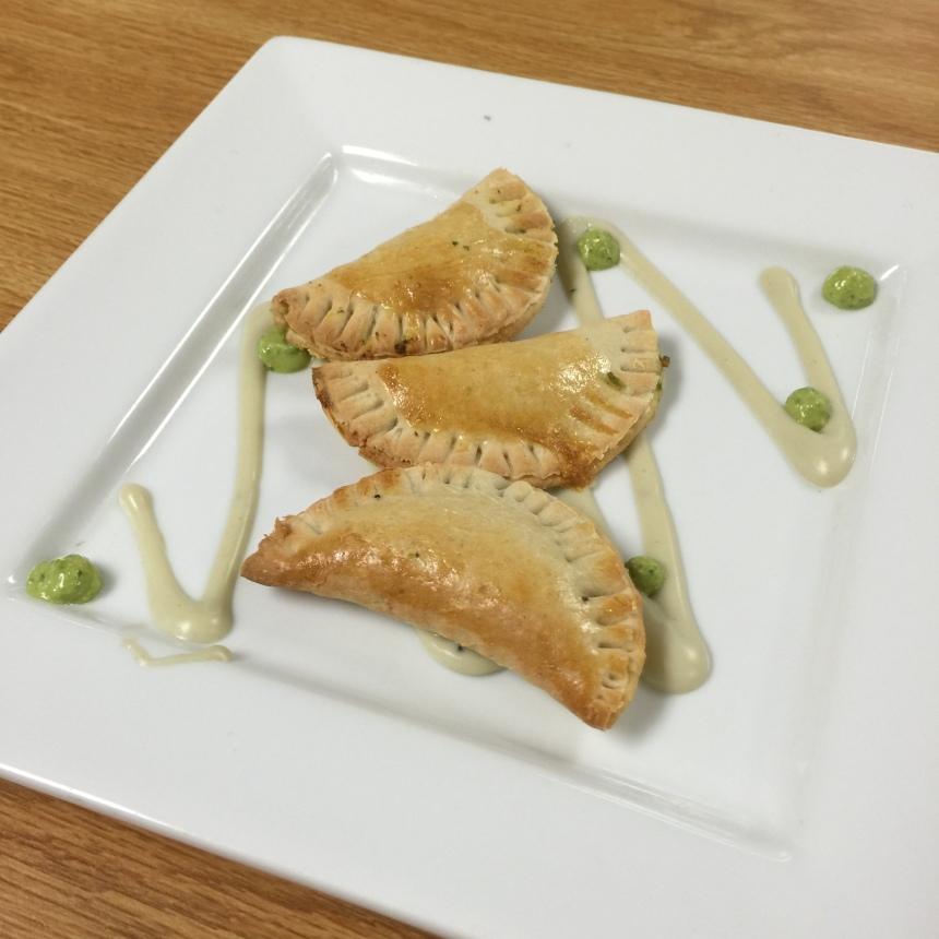 Pesto and cheese empanadas
