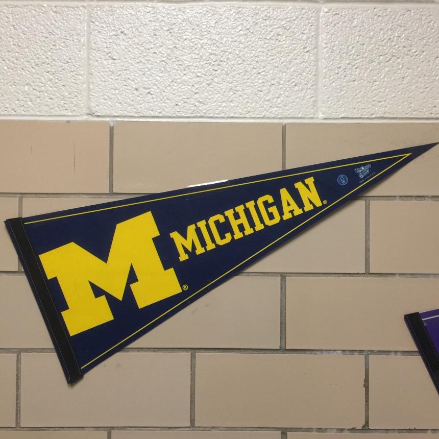 #GoBlue pennant in the Trimble hallway