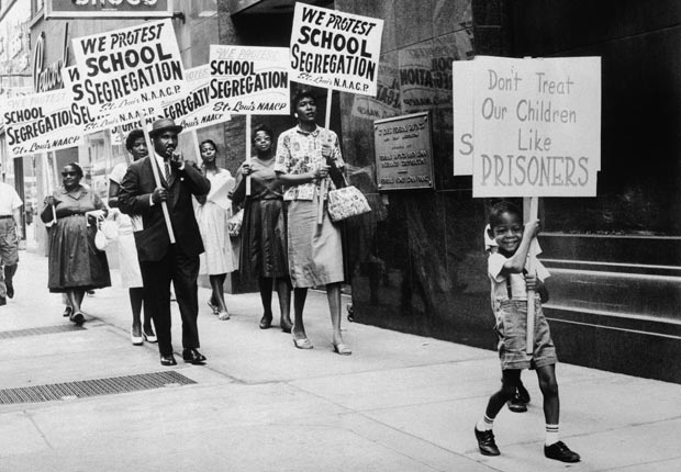 27 Jul 1963, St. Louis, Missouri, USA --- The St. Louis Board of Education was picketed by the NAACP after the Board issued a modified enrollment plan which the NAACP did not go far enough in integrating the schools. --- Image by © Bettmann/CORBIS